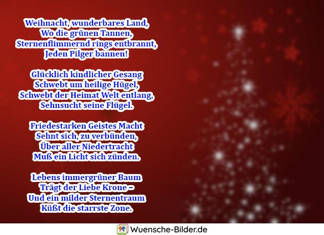 Weihnacht, wunderbares Land, Wo die