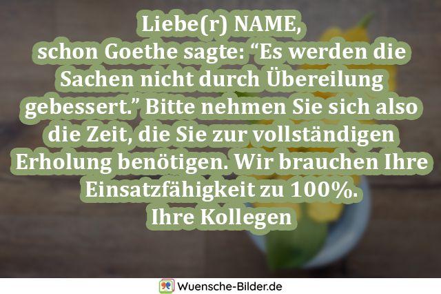Liebe(r) NAME, schon Goethe sagte