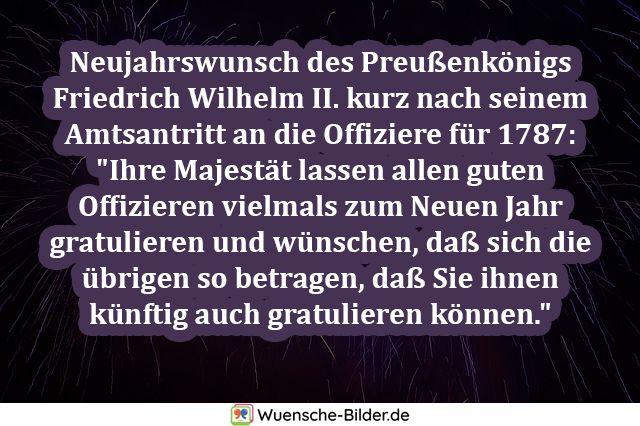 Neujahrswunsch des Preußenkönigs Friedrich Wilhelm