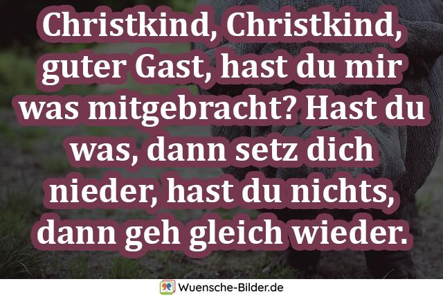 Christkind, Christkind, guter Gast, hast